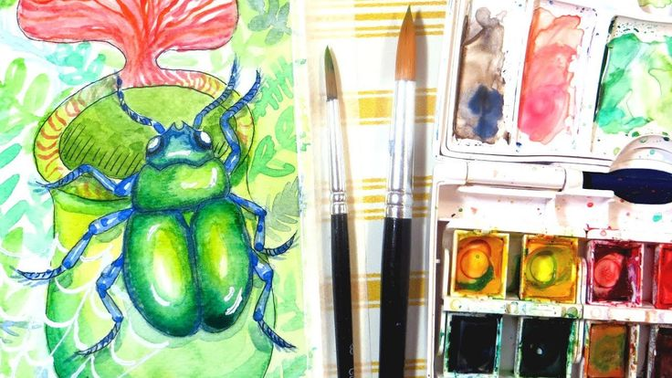 How to Paint a Beetle in Watercolor    Tropical Rainforest Insect Painting. I'm painting a tropical rainforest scene with insects and plants. This is my unofficial entry for the new Animal Artists Collective.