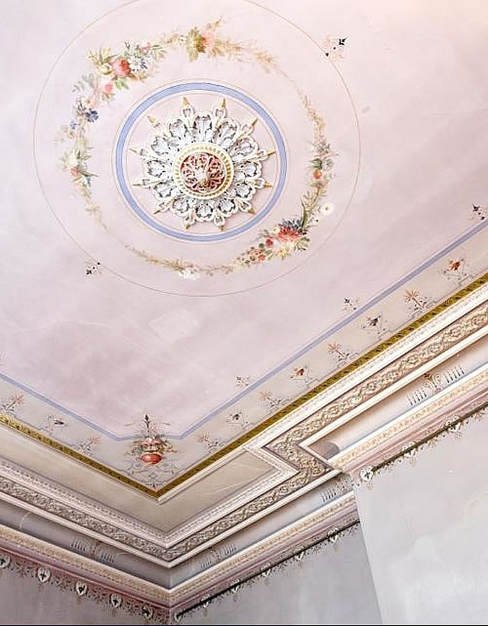 Painted ceiling with delicate pink and gold details, with plaster work and painted details http://PaperDuchesses.com ~ Paper Duchesses Journal : Interior Decor Luxury