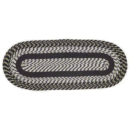 Braided Rug 2 X 9 Black Striped