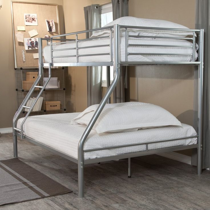 Twin over Full Bunk Bed with Stairs Ladder Silver Metal Frame Contemporary Toddler Bed for Kids or Adults Bedroom Space Saver Shared Kids Dorm Room