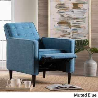 Mervynn Mid-Century Button Tufted Fabric Recliner Club Chair by Christopher Knight Home - Free Shipping Today - Overstock.com - 21532548 - Mobile