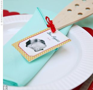 Love the aqua with red accents color scheme! Bridal Shower: A '50s Retro-Themed Bridal Shower