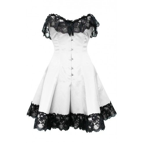 White Gothic Steel Boned Lace Corset Dress £59