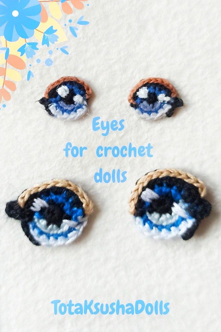 Augen sticken … | Crochet eyes, Crochet doll pattern, Crochet dolls | 1102x735