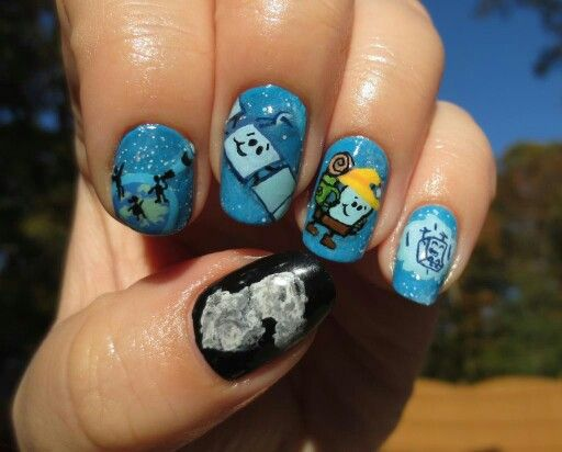 Comet landing nails for the European Space Agency (esa)'s Rosetta mission and Philae lander on comet 67P!  Based on scenes from a wonderful cartoon portraying the event released by esa during the week leading up to the landing. By Kristen Fredriksen.