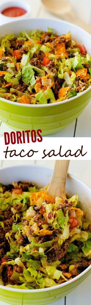 Seasoned ground beef, black beans, tomatoes, lettuce and of course nacho cheese Doritos. You can't go wrong with this classic salad!