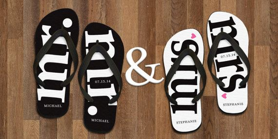 Mr Amp Mrs Newlywed Personalized Flip Flops By