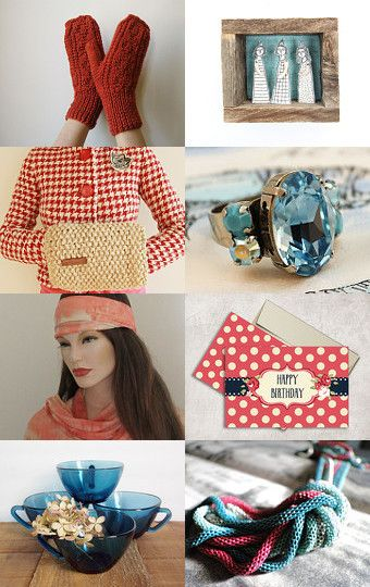 Red and Blue Together by ILONA on Etsy--Pinned with TreasuryPin.com