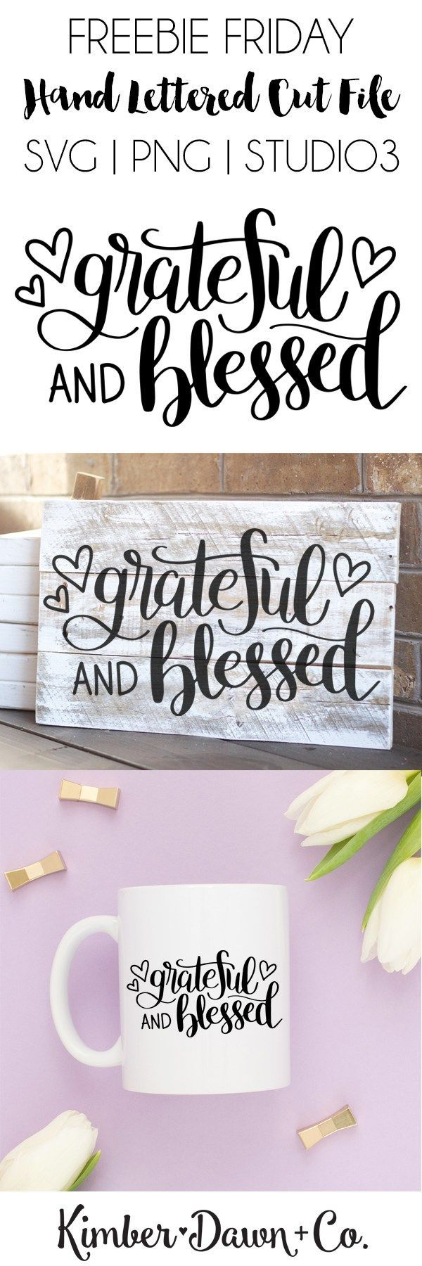 "Hand Lettered Grateful and Blessed Free SVG Cut File  Hand Lettered Grateful and Blessed Free SVG Cut File   Who's ready for some Thanksgiving crafting?! We sure are. Not to mention ""Grateful and Bles"