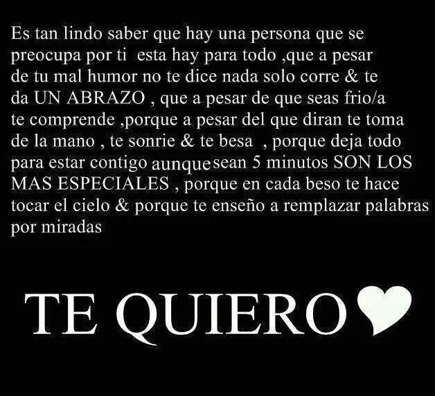 Te quiero.                                                                                                                                                      Más