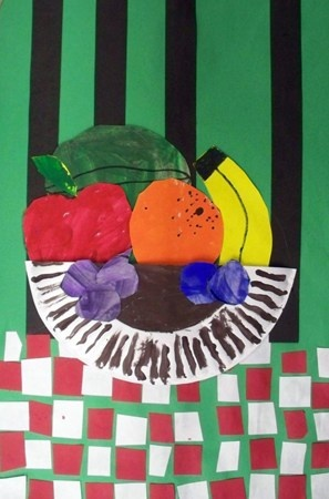 "Fruitbowls! Paint individual sheets with each of seven colors, ""Eric Carle"" style. Maybe paint a brown sheet for bowl/basket. Could be partner project sharing painted sheets. Following week cut out fruits and bowl and assemble."