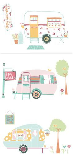 These sweet little caravan printables are perfect for summer scrapbooking and card making. Download them for free!