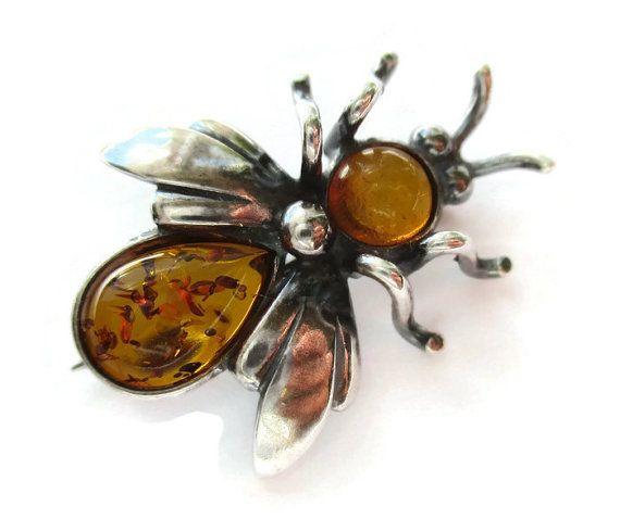 Vintage bee or fly brooch Baltic amber brooch by Inglenookery