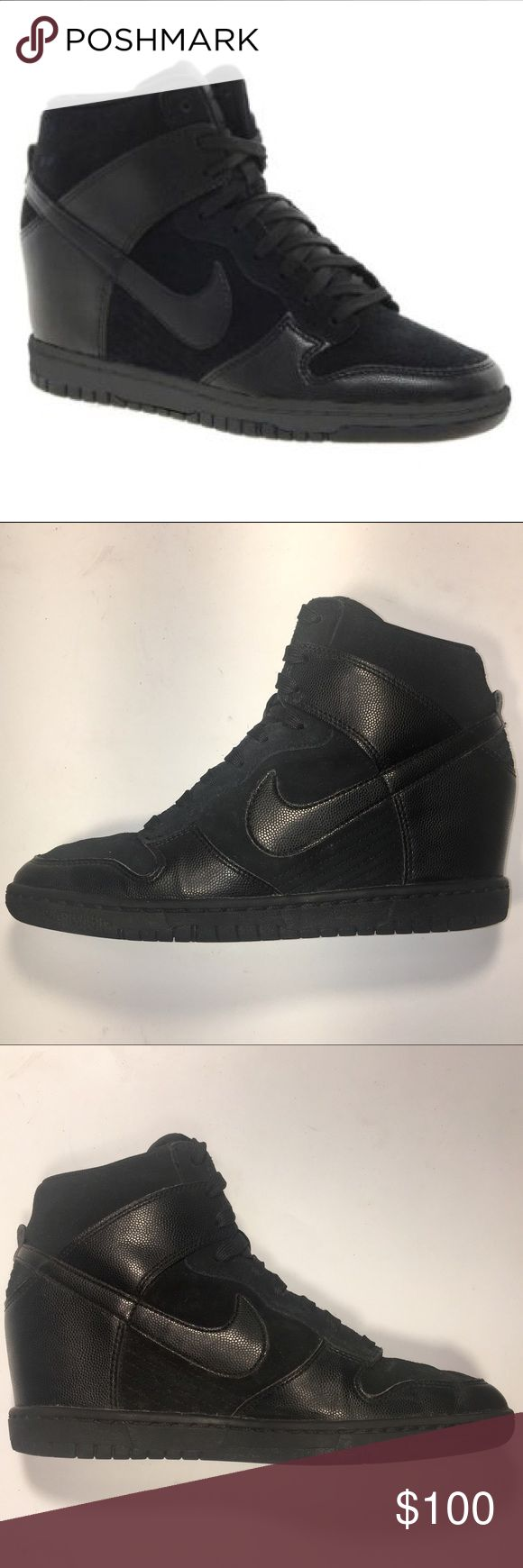 """$190 Nike Dunk Sky High Black Wedge Trainers 8 $190 Nike Dunk Sky High All Black Laced Wedge Trainers Size 8. Excellent Condition w/minimal wear as shown. •Photos are main description & show shoes w/ & w/o flash Featuring a concealed wedge heel, the Nike Dunk Sky Hi Shoe takes a legendary design to new heights. Premium leather define the upper & supportive overlays & court-inspired traction deliver a secure, stable ride. •Heel: 3"""" with 3/4"""" platform •Suede & Leather upper •Textile…"""