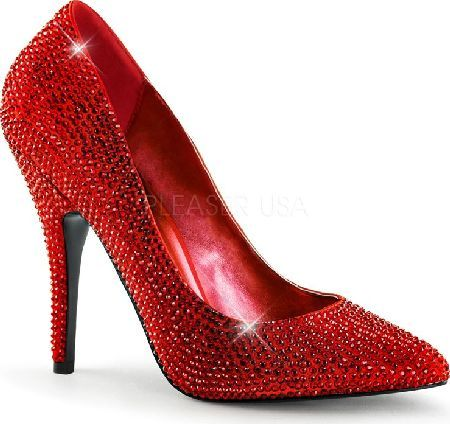 Pleaser Shoes Seduce-420RS Red Satin Red Crystal Red court shoes in red satin, with pointy toe, tone-to-tone red crystal adornment, sexy 5 inch (12.5 cm) stiletto high heels covered in red crystals and contrasting front flat sole which creates a dra http://www.comparestoreprices.co.uk/january-2017-4/pleaser-shoes-seduce-420rs-red-satin-red-crystal.asp