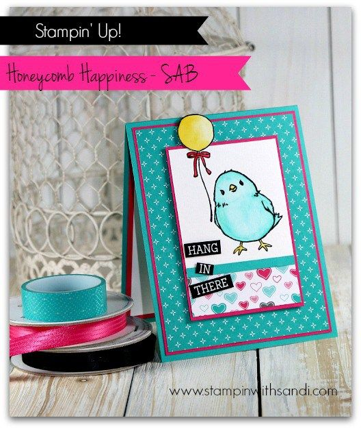 Stampin Up Honeycomb Happiness card by Sandi @ http://stampinwithsandi.com/sneak-peek-sale-a-bration-honeycomb-happiness/ One of the Adorable Stamps you can earn for free during Stampin Up Sale-a-bation: