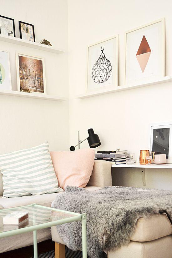 Artwork on narrow shelves