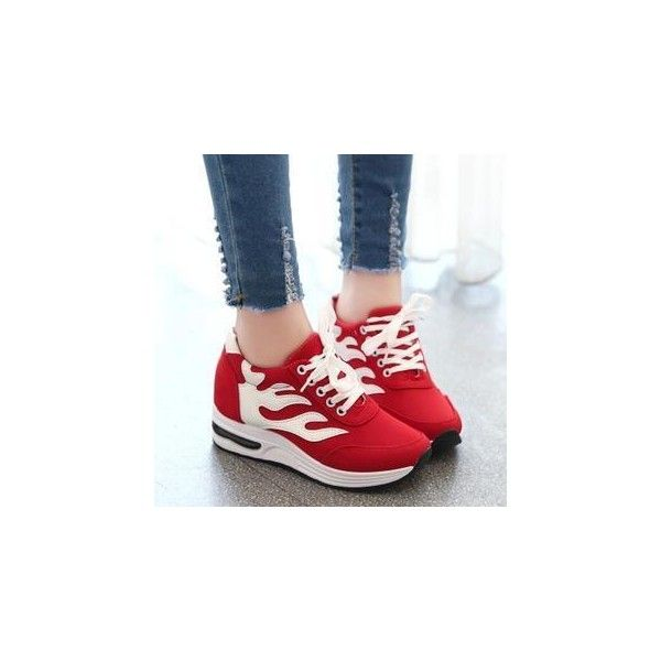 Flame Appliqu  Sneakers ($33) ❤ liked on Polyvore featuring shoes, sneakers, footware, red wing shoes, platform trainers, famous footwear, mid heel platform shoes and waist trainer