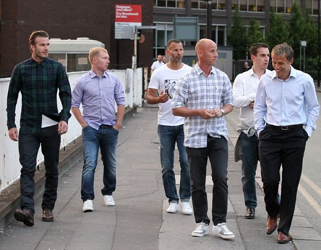 Six of the best: Beckham, Scholes, Butt, Giggs, Gary Neville and Phil Neville