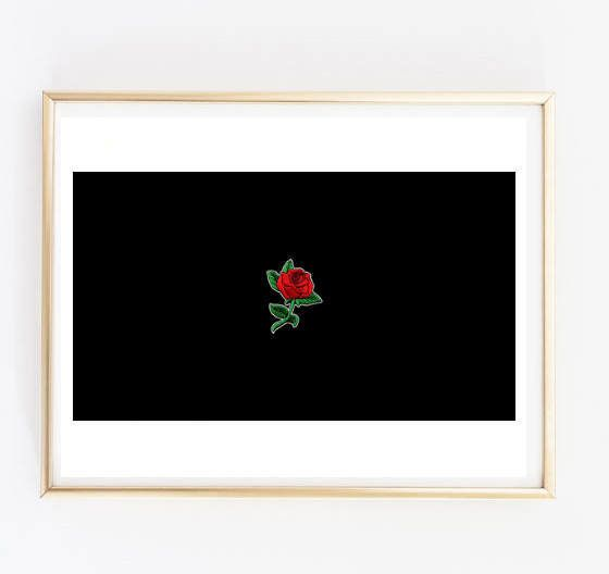 Faux Rose Patch Cute Tumblr Room Decor Living Quote Home Art Gift Black