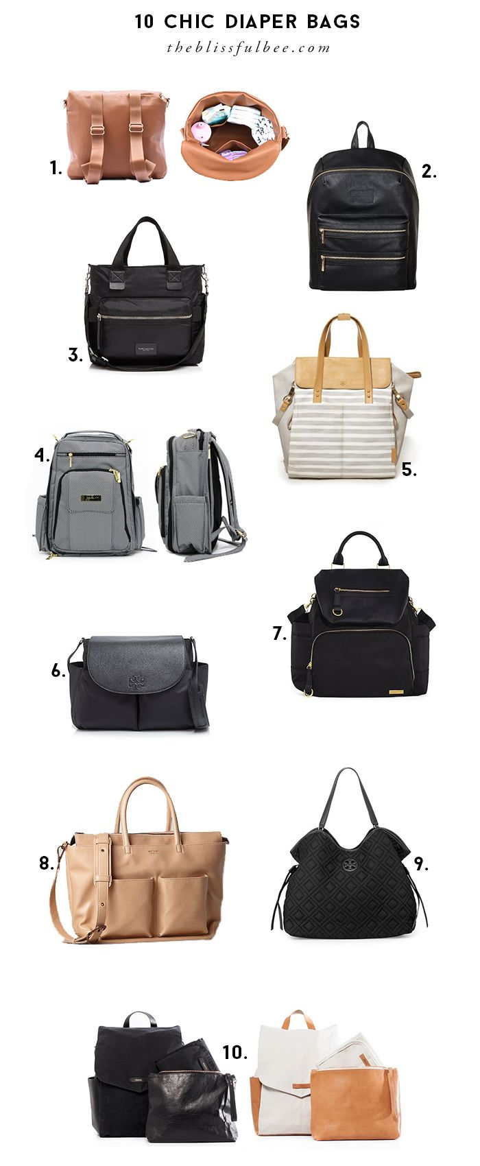 10 Chic (and practical) Diaper Bags | The Blissful Bee #diaperbag #babybag #baby