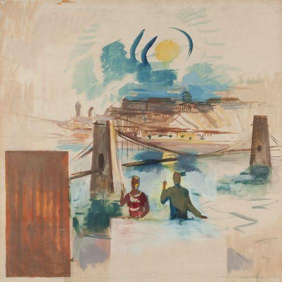 'Metropol falkép (színvázlat)' (Metropol mural painting - color scheme) - Bernáth Aurél