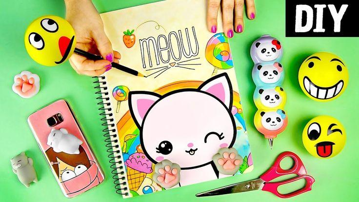 DIYs com Squishies Kawaii  Material Escolar e Capinha de celular | Sup...