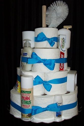 Unique Housewarming Gift. Toilet Paper cake includes bathroom supplies.  @Dreala1953 @Netta Rabin Rosenman Lind @nettalind @nettajlind  Bridal shower?