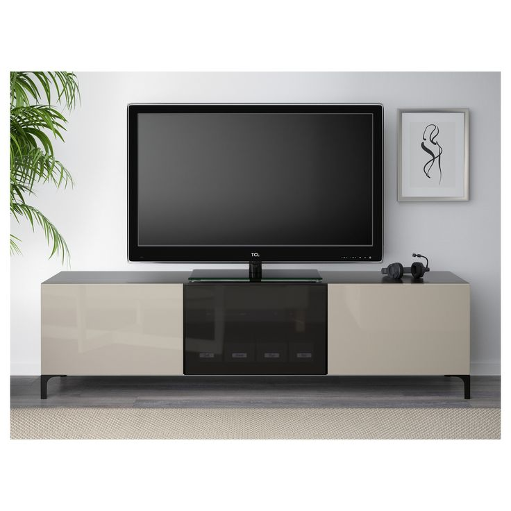 best tv unit with drawers and door blackbrown selsviken high glossbeige smoked glass