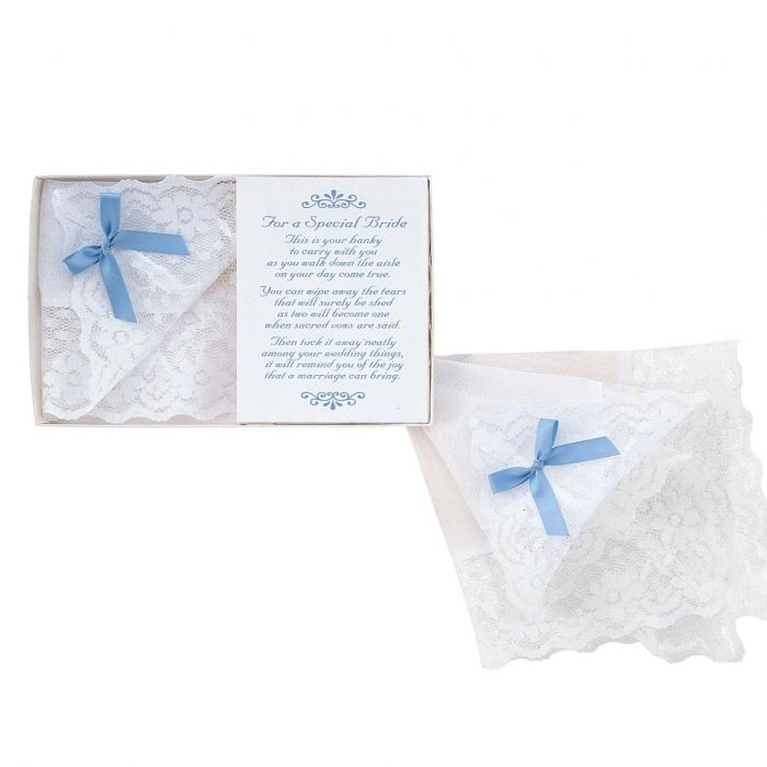 "Bride's white handkerchief with lace trim, 12"" x 12"". Gift boxed with blue ribbon bow and a touching poem for the bride on her special day."