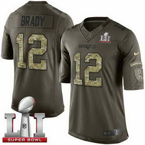 Men's Patriots #12 Tom Brady Green Super Bowl LI 51 Stitched NFL Limited Salute To Service Jerseys