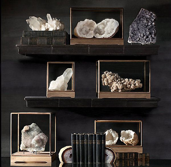Mineral specimens on shelf and table - Decoist  Note to me: I'd sure be happy to have me small special specimen collection look like this on display.