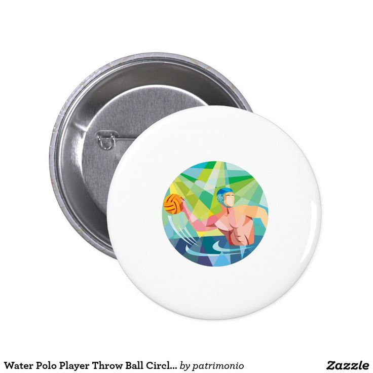 Water Polo Player Throw Ball Circle Low Polygon Button. 2016 Rio Summer Olympics button badge with a low polygon style illustration of a water polo player throwing the ball viewed from the side set inside a circle. #waterpolo #olympics #sports #summergames #rio2016 #olympics2016