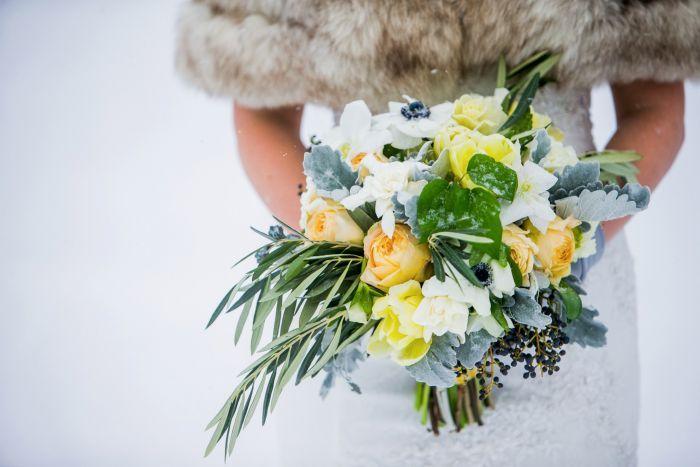 Winter Wonder, Wedding Flowers, Denver, Colorado, winter bouquet, anemone, olive, garden roses, dusty miller, photography by http://chrishumphreys.com/.