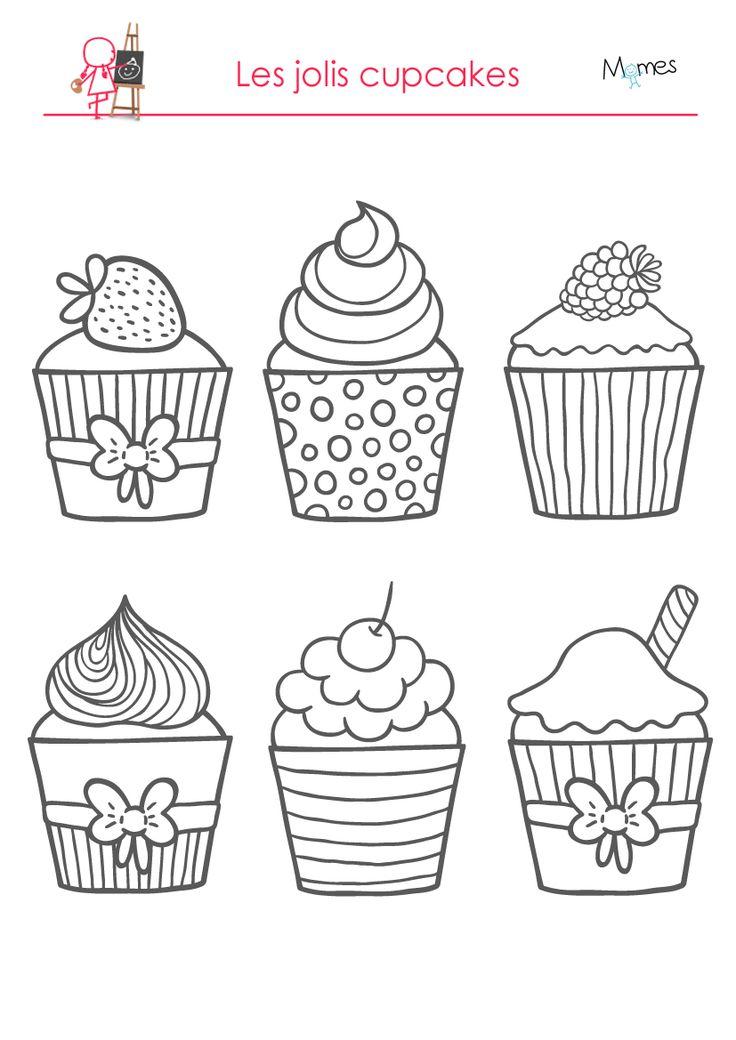 Miam des cupcakes ! La recette de ces délicieuses pâtisseries à colorier est toute simple, il vous faudra une pincée d'encre, une feuille blanche, une imprimante et une grande louche de couleurs !