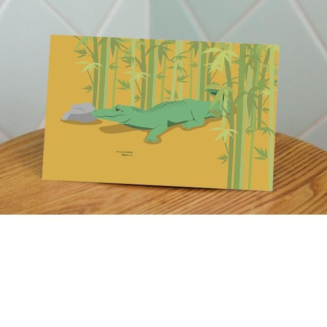 The 'Crocrodile' by Marion S.Printed illustration on Postcard #mypushup https://www.mypushup.com