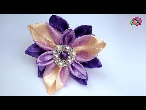 Заколка Осенний цветок. Канзаши МК/Hairpin Autumn Flower. DIY Kanzashi - YouTube