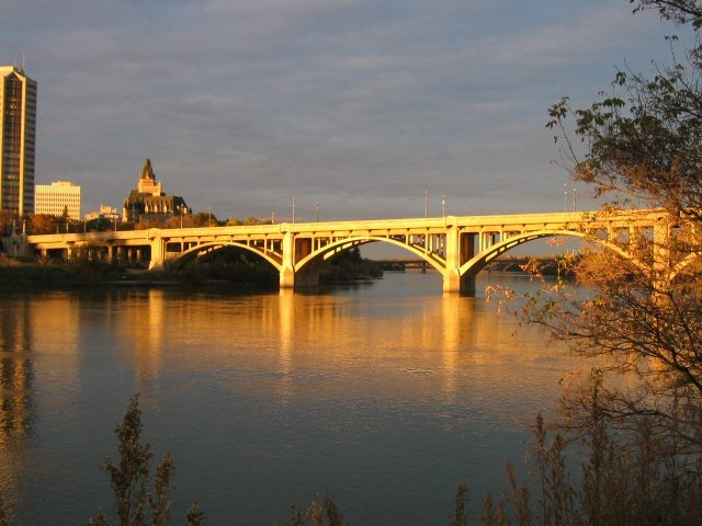 "The Broadway Bridge is one of seven bridges that cross the South Saskatchewan River in Saskatoon. One of the nicknames for Saskatoon is, therefore, the ""City of Bridges""  photo from canadaphotoseries.com"