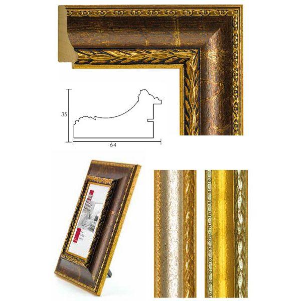 Mira Barockrahmen Verdun 80x120 - Gold mit silberner Zierleiste   AllesRahmen.de