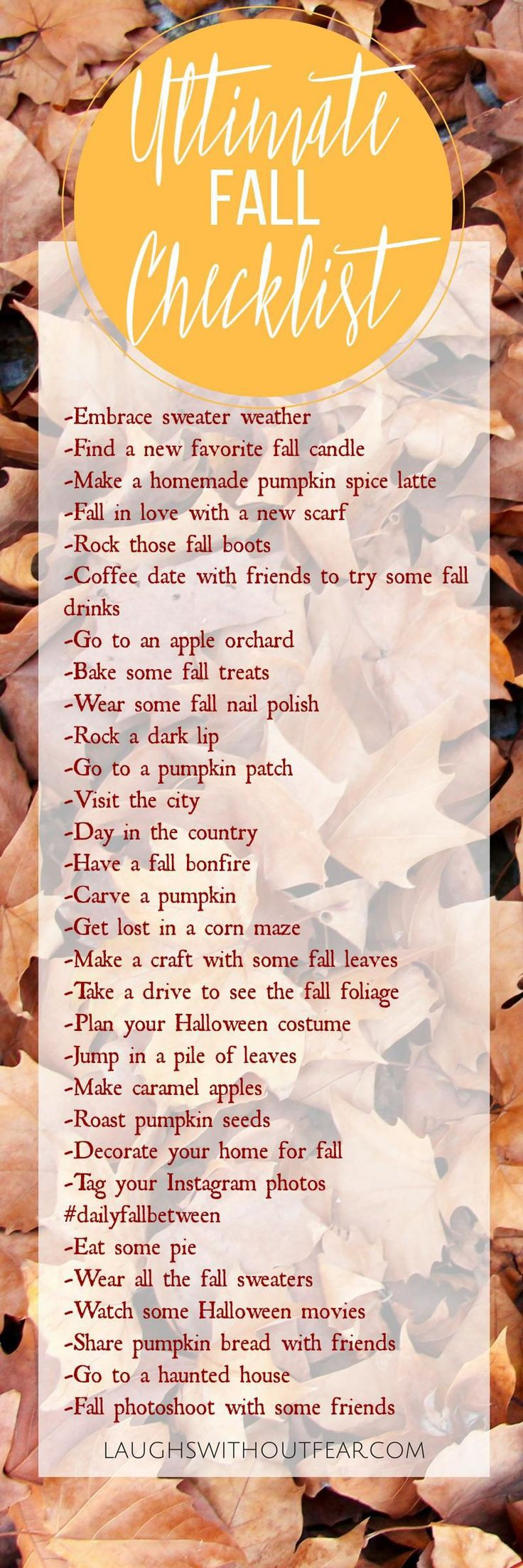 Sometimes it's hard to keep track of all the wonderful things fall has to offer in the midst of a busy schedule.  Fall isn't over though!  How many of these can you cross off the checklist this season?