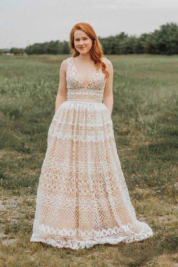 Ivory V Neck Long Lace Plus Size Prom Dresses With Pocket Vintage Formal Dress Ivory Prom Dresse Plus Wedding Dresses Prom Dresses Long Lace Ivory Prom Dresses