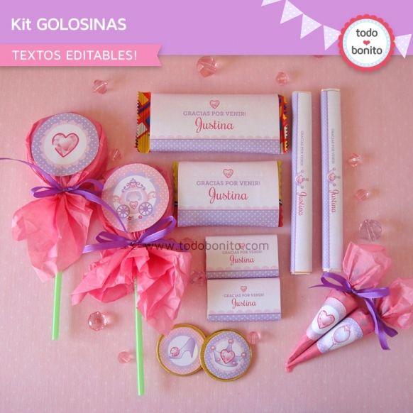 Princesa: kit etiquetas de golosinas