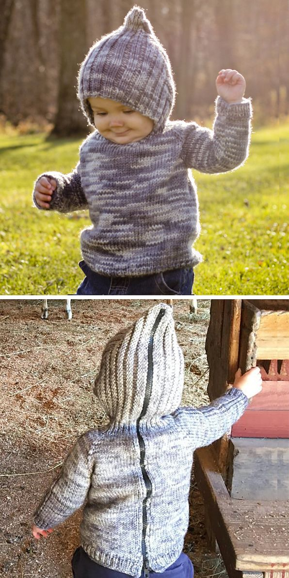 4e4a777c9 Free Knitting Pattern for Back Zip Baby Hoodie - This hooded baby ...