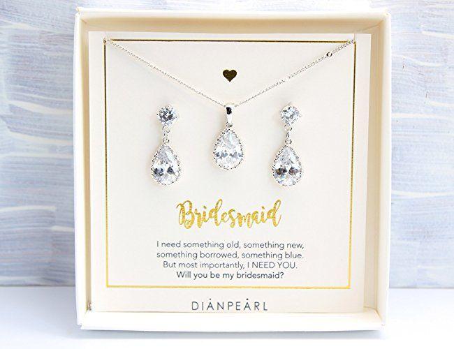 Amazon.com: Crystal jewelry Set,Silver jewelry set, Crystal Bridesmaid Jewelry Set,Bridesmaid gift,will you be my bridesmaid, Crystal jewelry set,Bridal jewelry, Set of 5, Set of 6, Set of 7: Handmade