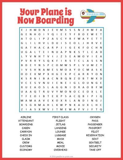 This printable airplane word search is the perfect quiet activity for you or the kids the next time you are flying.  The 30 vocabulary words will keep them busy for a while!