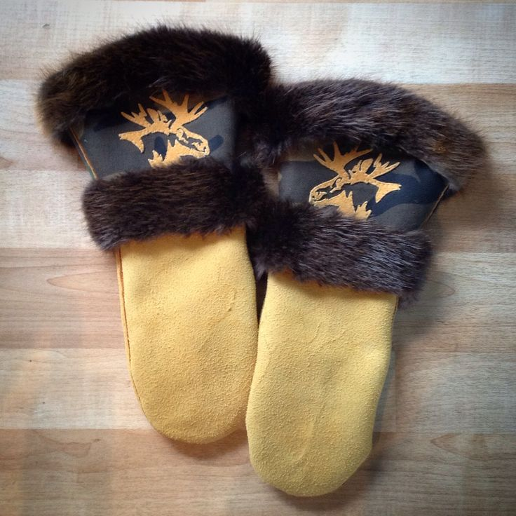Mitts that I made! Moose head silhouette on camo w/ beaver fur, and factory tanned moose hide! Carmen Dennis (Tahltan)