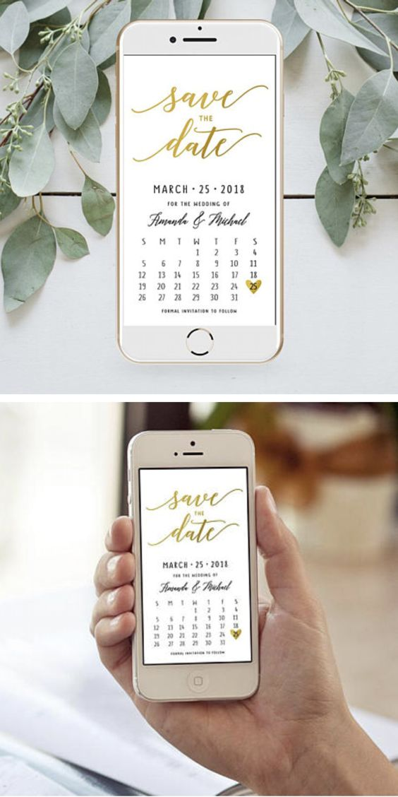 Electronic Save The Date card Calendar Golden