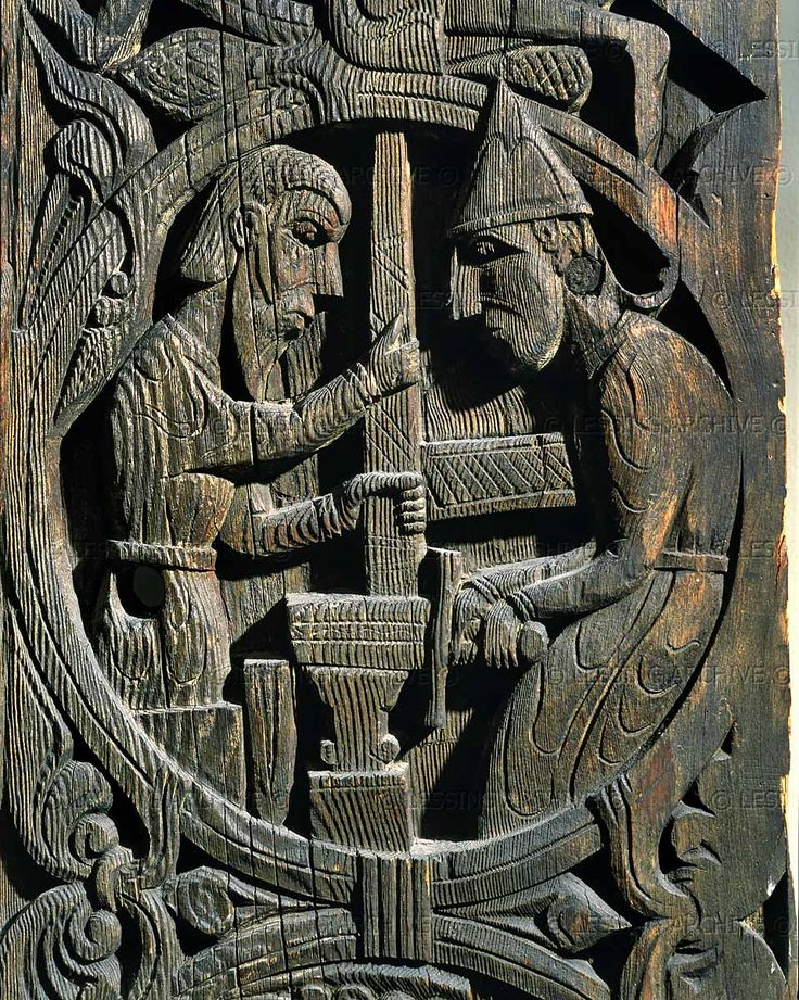 The legend of Sigurd (Siegfried) from the Edda (collection of Norse mythological poems): Regin (Sigurd's foster father) and his helper forging the sword on the anvil. Wood panel from a church in Setesdal, Norway; 12th century