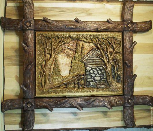 """Пейзаж ручной работы. Ярмарка Мастеров - ручная работа. Купить Картина резная из дерева """"На опушке леса"""". Handmade. Коричневый"""