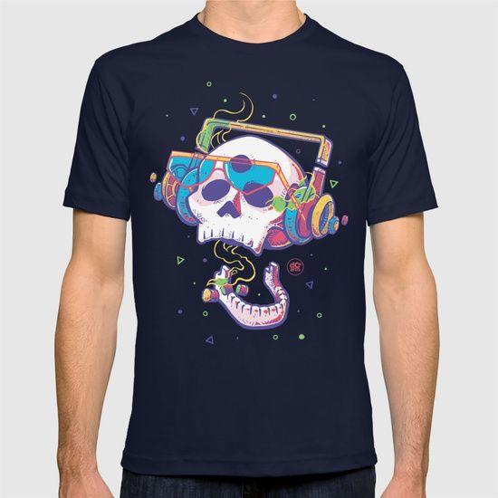 Smoke T-shirt by Sergio Paucar (descolorido) (dcoarts)        #dcoarts #illustration #art #digitalart #drawing #cool #creative #skull #headphones #music #cigar #grafitti        skull illustration | craneo ilustracion | craneo dibujo